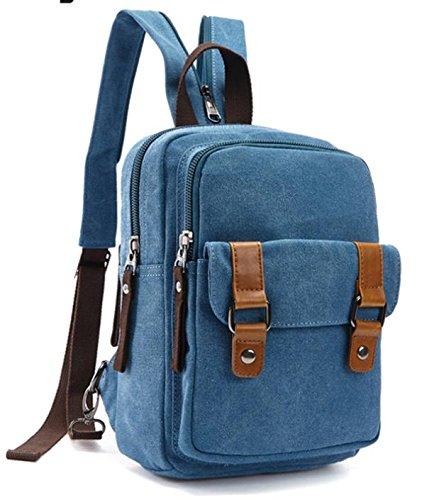 &ZHOU Borsa di tela, duplice uso multi-funzionale borsa, borsa a tracolla, uomini e donne, sacchetto esterno, sacchetto di petto di grande capacità, tempo libero piccolo zaino a tracolla , blue Blue