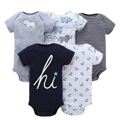 BESTOYARD 5 stücke Babyspielanzug Baumwolle Kurzarm Dreieck Strampler Bodysuit Outfits Infant Kleinkind Kleidung für Junge Mädchen 07183 Elefant, 6 Mt - Eine Infant Bodysuit