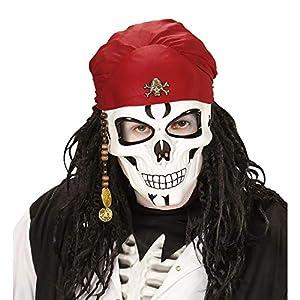 WIDMANN vd-wdm95708media cara máscara pirata de calavera con Bandana, Color blanco, talla única