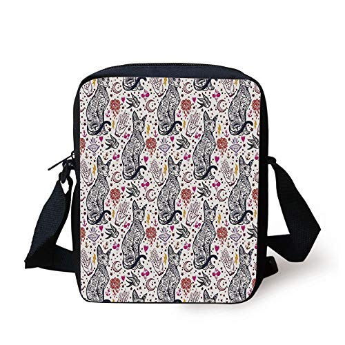 Tattoo Pattern with Gothic Magic Icons Witchcraft Symbols Kitty Hands,Multicolor Print Kids Crossbody Messenger Bag Purse ()