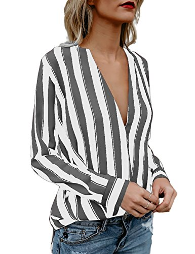 Boutiquefeel Damen Stripes Tief V Ausschnitt Langarm Casual Bluse Oberteile  Weiß Grau L 54159907c2