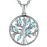 JO WISDOM collier pendentif arbre de vie Yggdrasil argent 925 femme AAA zirconium (collier bleu aigue-marine)