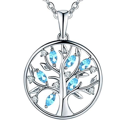 JO WISDOM collar colgante arbol de la vida plata de ley 925 creado Aguamarina cristales swarovski mujer joyerí