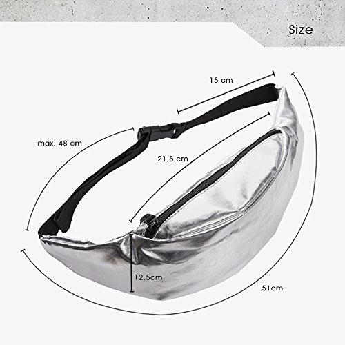 Doris Boutique Fu - PU Leder Damen Herren Neutral Gürteltasche Bauchtasche Hüfttasche Geldbeutel Bikertasche (Silber) Silber