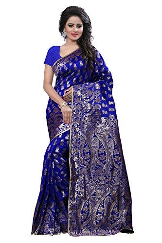 Shree Sanskruti Women's Tussar Silk Saree With Blouse Piece (Banarasi 1005 Blue_Blue)