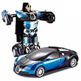 #6: Toykart one Button Transforming Car into Robot Autobot Deformation Innovative RC Toy (BLUE)