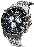 Xezo Air Commando orologio cronografo subacqueo svizzero da uomo, con secondo fuso orario. Con giorno e data. Placcatura oro.