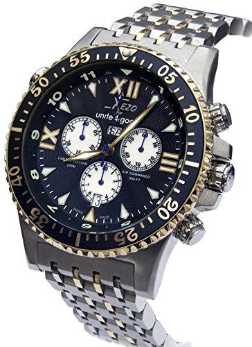 Xezo Air Commando Herren-Armbanduhr, Schweizer Quartz-Chronograph, D45-BU (Cartier Uhr Herren Fake)