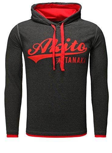 Akito Tanaka Herren Kapuzensweat Sweatshirts 118 315 Anthrazit-Rot M