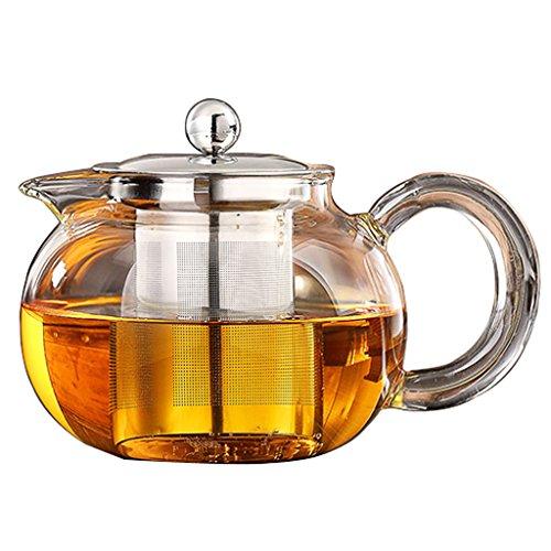 Lifeyz klare transparente glas teekanne hochwarmfester teekanne blume tea coffee pot mit rostfreier Stahl infuser kurze auslauf teekanne 500ML