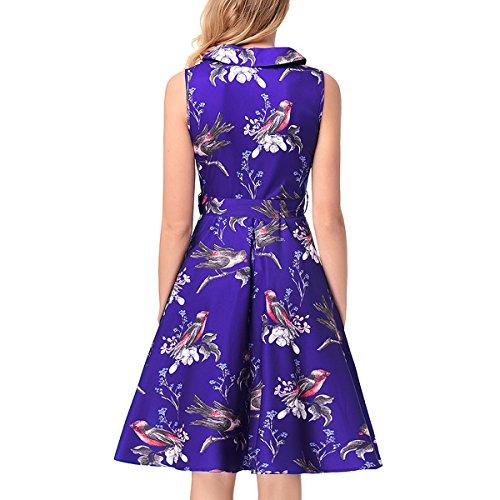 Dissa RC877 femme 50's Audrey Hepburn rétro Robe de soirée Cocktail,Robe de Bal Bleu