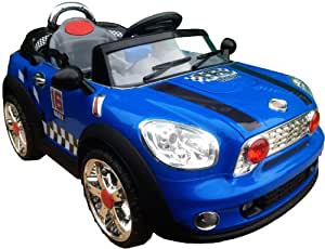 12V 2 MOTORS 2 WHEEL DRIVE NEW DESIGN BLUE KIDS RIDE ON MINI STYLE RECHARGEABLE ELECTRIC CAR + parental remote control + soft leather seat + battery capacity indicator + mp3 input + music volume control. (MINI-BLUE)