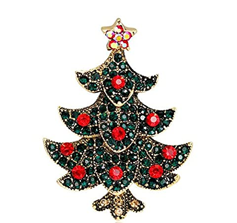 Hosaire 1x Brosche Mode Kreative Weihnachtsbaum Form Design Broschen Kleidung Dekoration Damen Brosche Schmuck Zubehör Weihnachten Brooch