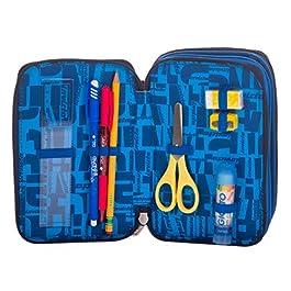 Astuccio 3 Zip Invicta Kupang, Blu, Con materiale scolastico: 18 pennarelli Giotto Turbo Color, 18 matite Giotto Laccato…