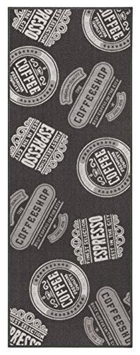 andiamo 291165 Küchenläufer 'Coffeeshop' / Anthrazitfarbener Kurzflor Läufer aus 100% Polyamid / 1 x Teppich (67 x 120 cm)