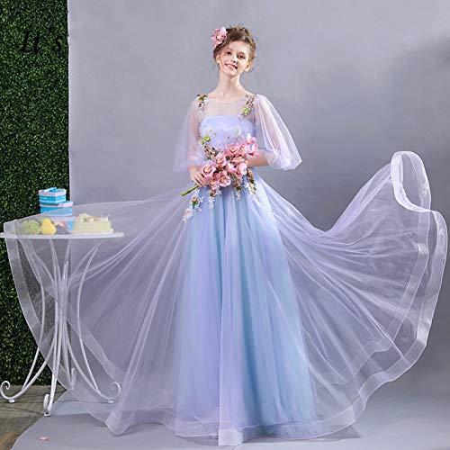 18w Laterne (FEJIWO Abendkleid Appliques Perlen Lange Hochzeit Formale Kleider Floral Oansatz Laterne Hülse Spitze Up Party Kleid)