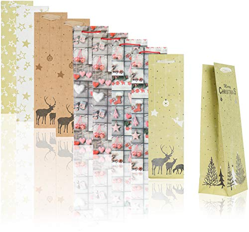 COM-FOUR® bolsa regalo 10x motivos navideños - bolsa