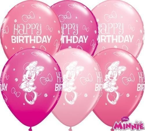 "Image of Minnie Mouse Happy Birthday 11"" Qualatex Latex Balloons x 10"