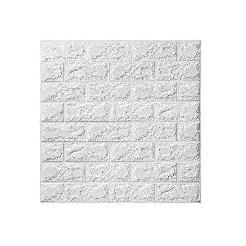 WINOMO 3D Brick Wall Aufkleber Kleber Wall Panel Brick Wallpaper für Hintergrund im Schlafzimmer Wohnzimmer Küche Decor 60 x 60 cm (Weiß) -
