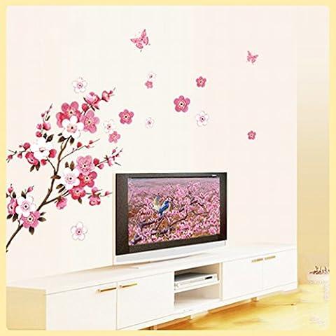 Pflaumenblüten-Baumaufkleber (Abnehmbar, Wasserdicht, Grün) für Wohnzimmer Schlafzimmer Büro-Schlafsaal Hintergrund