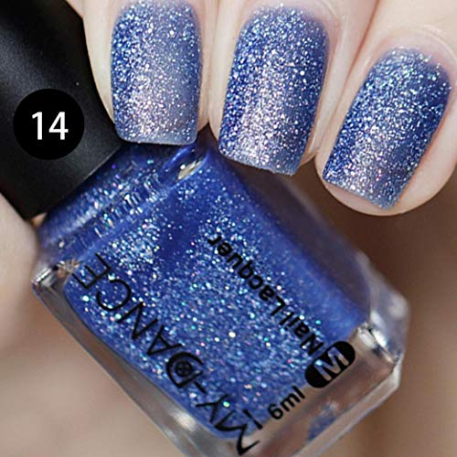 Missoul Gel Nail Manicure 6ml Fashion Ice Smoothies Series Polish Shimmer Sequins Nail Varnish DIY Art (H) -