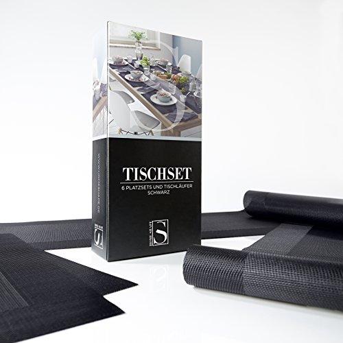 Homeshape Tischset-6er-Set Inklusive Platzsets und Tischläufer – Abwischbar - Hitzebeständig und Rutschfest – Premium Esstisch-Deko in Farbe Schwarz
