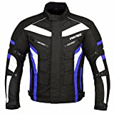 JKT-007 | Waterproof Motorbike Motorcycle Jacket in Cordura Fabric and CE Approved Armour – 6 Packs Design Most Popular (Black & Blue, 6X-Large)