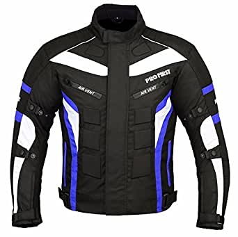 JKT-007 | Waterproof Motorbike Motorcycle Jacket in Cordura Fabric and CE Approved Armour - 6 Packs Design Most Popular (Black & Blue, 2X-Large)