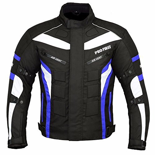 JKT-007 | Waterproof Motorbike Motorcycle Jacket in Cordura Fabric and CE Approved Armour – 6 Packs Design Most Popular (Black & Blue, X-Large)