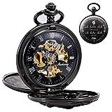 Reloj de Bolsillo Treeweto con Cadena para Hombre con Grabado, analógico, Cuerda de Mano, diseño Antiguo de dragón, Color Negro, Regalo de cumpleaños, Aniversario, Boda, Marido