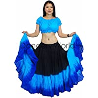 Dancers mundo 2pc 25 Yard Falda de Algodón para faldas de Gypsy Tribal Danza del Vientre ATS Turq Royal Blue Black