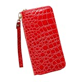 Bolso, Manadlian Moda Bolso Cartera de mujer Stone Road Bolsa de monedas Bolsa de teléfono (19cm(L)*3cm(W)*9.5cm(H), Rojo)