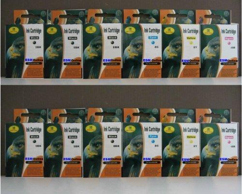 ESMOnline 12 komp. Druckerpatronen für Canon PGI-5BK CLI-8BK CLI-8C CLI-8M CLI-8Y 4 x schwarz 2 x photoschwarz dünn 2 x blau 2 x rot 2 x gelb -
