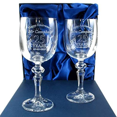 Personalised 25th Wedding Anniversary Gifts, Silver Wedding Anniversary Glassware, Crystal
