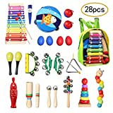 TOPERSUN 28Pcs Musikinstrumente Kinder Set Musical Instruments Set Spielzeug von Holz Percussion Set mit Schultasche für Kleinkinder, Vorschulkinder, Kinder und Babys