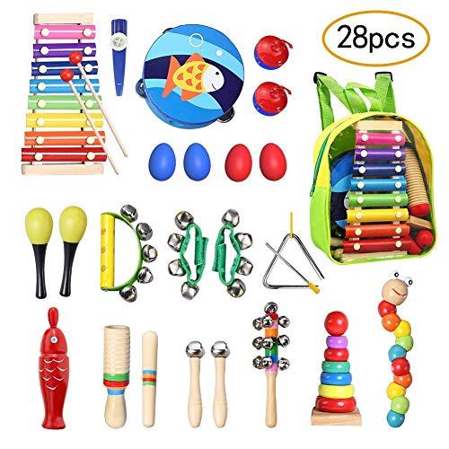 TOPERSUN 28Pcs Musikinstrumente Kinder Set Musical Instruments Set Spielzeug von Holz Percussion Set mit Schultasche für Kleinkinder, Vorschulkinder, Kinder und Babys -