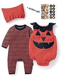 Tkiames Bebé Unisex Algodón Calabaza Impresión Mono Bodies y Chaleco y Sombrero Halloween set(3PCS)