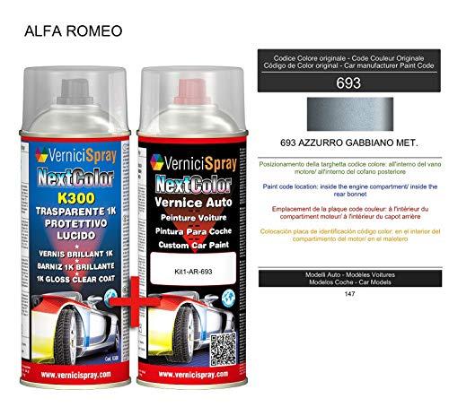 Kit Vernice Auto Spray 693 AZZURRO GABBIANO MET. e Trasparente Lucido Spray - kit ritocco vernice metallizzata 400+400 ml di VerniciSpray