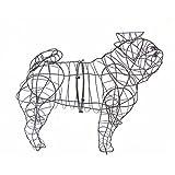 Gartenfigur Hund Mops für Moos Efeu