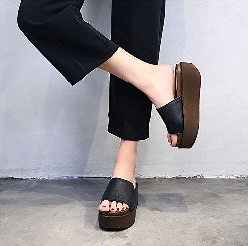 pengweiDamen-Mode dicke untere Hausschuhe Sommer hohe rutschfeste lose Kuchen am Ende der Raum k¨¹hlen Pantoffeln 1