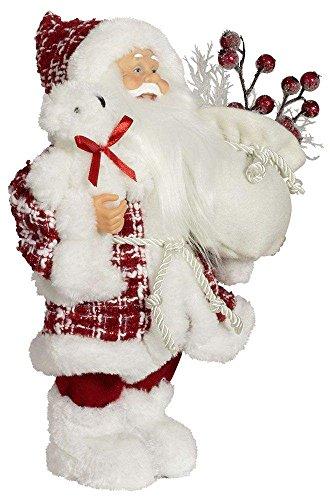 Christmas Paradise Weihnachtsmann Santa Nikolaus Melvin mit schönem Gesicht und Vielen Details/Größe ca.45cm/Roter Gemusterter Fellmantel, Rote Fellmütze, Rote Hose, Fellstiefel - Trendyshop365