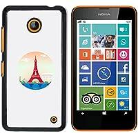 NOKIA Lumia 630 - Aluminum Metal & plastica dura Phone caso - nero - Parigi Torre Eiffel Red Circle Piramide Las Vegas