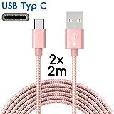 Coverlounge 2X USB C Kabel/USB-Typ-C Set 2m / 2 Meter Nylon USB Type C Ladekabel kompatibel für Type C Geräte von Samsung Galaxy, HTC, OnePlus, Microsoft, Huawei, Sony und weitere Rose Gold