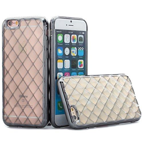 Apple iPhone 6S / 6   iCues pasilla Case Chrome Argent   Transparent Klarsichthülle gel de silicone Clair Clair Clair couvercle de protection de la coquille de couverture protectrice Chrome Coque Hous noir