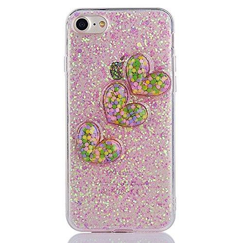 """iPhone 6Plus Hülle, Glitzer-Strass CLTPY iPhone 6sPlus Handytasche 2 in 1 Hybrid Weich Silikon Schale mit Überzug Farbig Rahmen für 5.5"""" Apple iPhone 6Plus/6sPlus (Nicht iPhone 6/6s) + 1 x Stift - Sil Hell-Pink 1"""