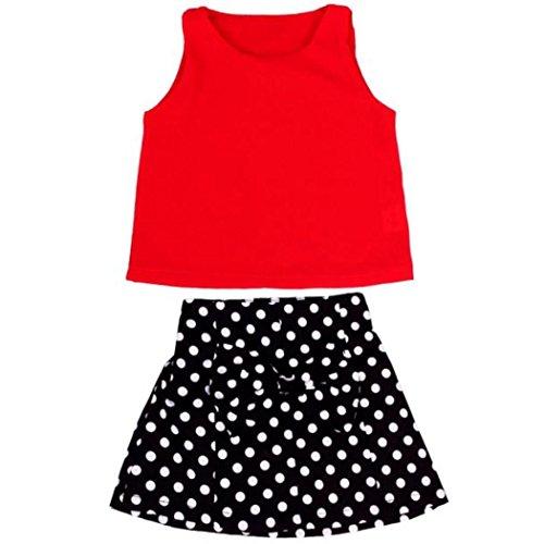 Culater® Ragazze conferisce a pieghe vestito a due pezzi gonna del vestito (90)
