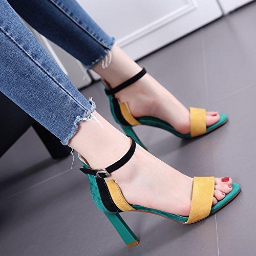 Toe Bare periodo di colore inarcamento di parola Sandali Donne Fashion Show sottile grossolani scarpe tacco tacco alto Green