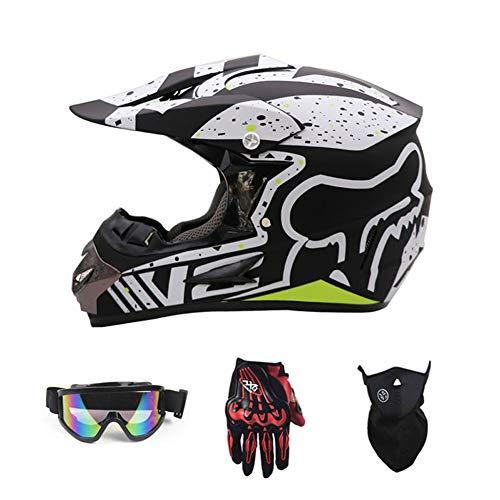Sanqing Casco Moto, Casco da Gara Motocross Casco Moto Quattro Stagioni Universale (Guanti, Occhiali, Maschera, Set di 4 Pezzi),Greensnowflake,M