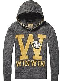 Scotch Shrunk Jungen Sweatshirt Hooded Sweat with College Artwork & Quilting Details