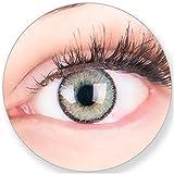 Graue Kontaktlinsen MIT und OHNE Stärke - für Braune Dunkelbraune und Schwarze Dunkle Augen - mit Kontaktlinsenbehälter. Zwei Farbige Silbergrau 3 Monatslinsen 0.0 Dioptrien